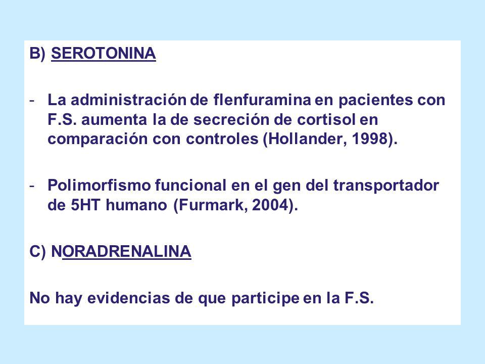 B) SEROTONINA -La administración de flenfuramina en pacientes con F.S. aumenta la de secreción de cortisol en comparación con controles (Hollander, 19