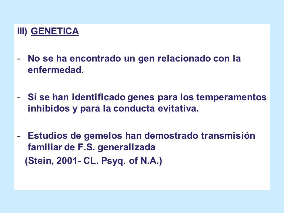 III) GENETICA -No se ha encontrado un gen relacionado con la enfermedad. -Sí se han identificado genes para los temperamentos inhibidos y para la cond