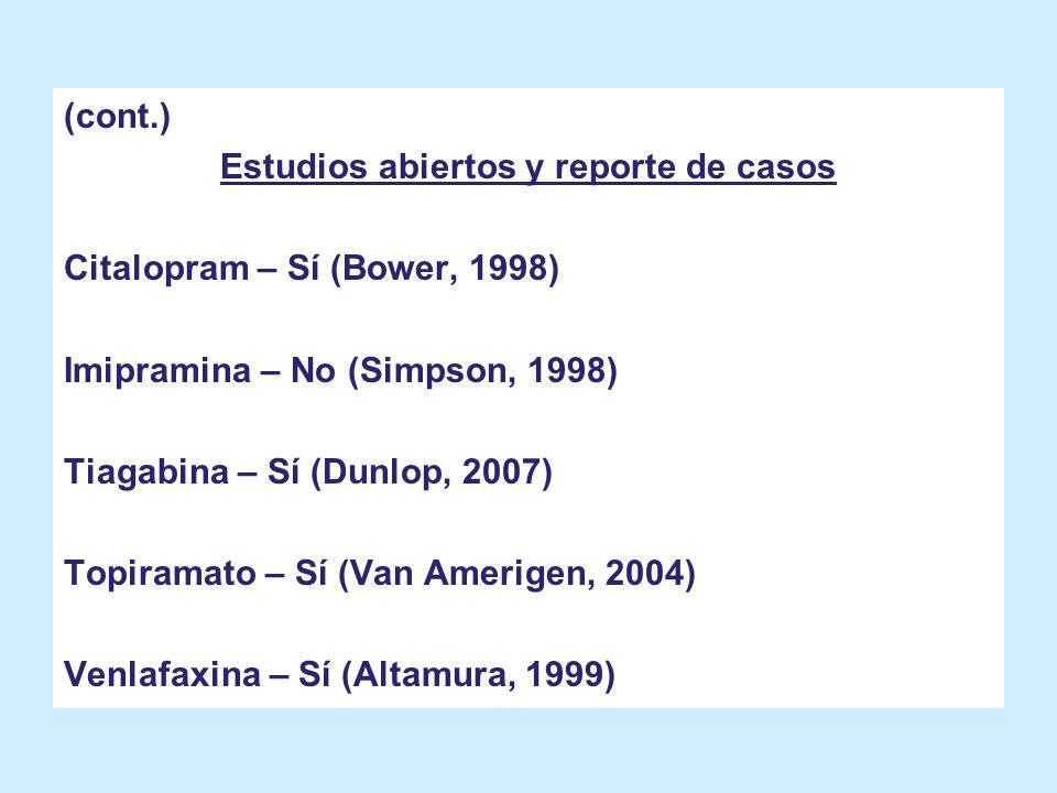 (cont.) Estudios abiertos y reporte de casos Citalopram – Sí (Bower, 1998) Imipramina – No (Simpson, 1998) Tiagabina – Sí (Dunlop, 2007) Topiramato –