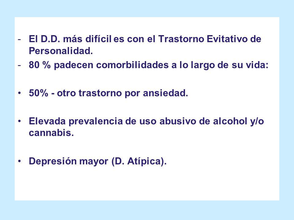 -El D.D. más difícil es con el Trastorno Evitativo de Personalidad. -80 % padecen comorbilidades a lo largo de su vida: 50% - otro trastorno por ansie