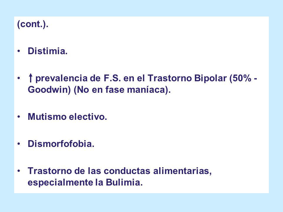 (cont.). Distimia. prevalencia de F.S. en el Trastorno Bipolar (50% - Goodwin) (No en fase maníaca). Mutismo electivo. Dismorfofobia. Trastorno de las