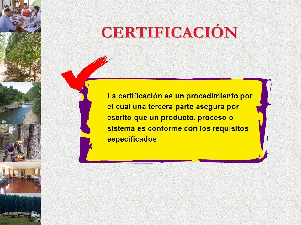 CERTIFICACIÓN La certificación es un procedimiento por el cual una tercera parte asegura por escrito que un producto, proceso o sistema es conforme co