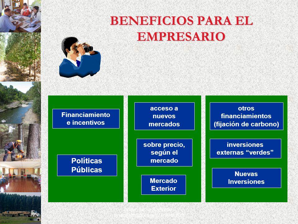 Autor: Tasso Azevedo / tasso@imaflora.org / P991176S BENEFICIOS PARA EL EMPRESARIO Nuevas Inversiones otros financiamientos (fijación de carbono) inve