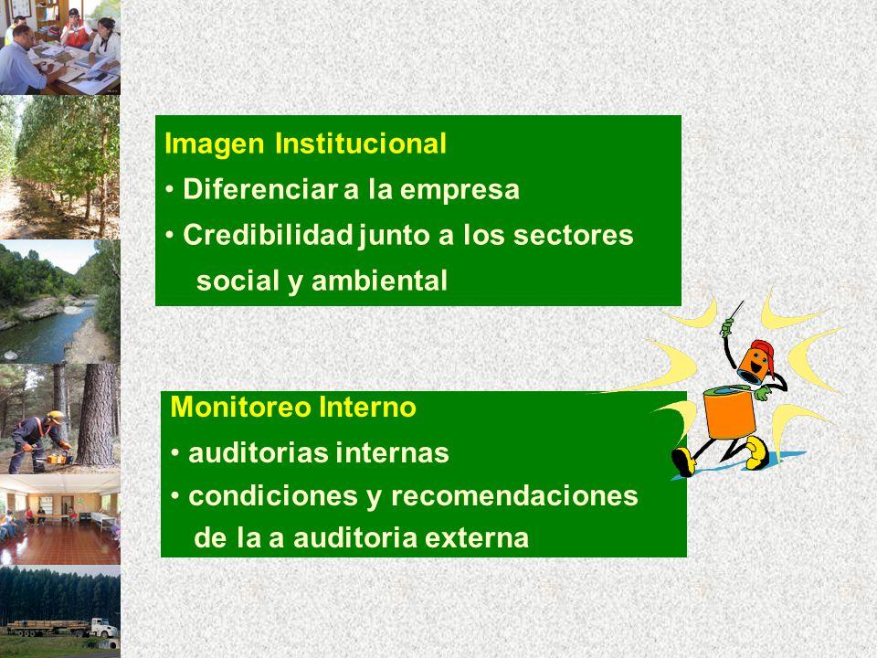 Imagen Institucional Diferenciar a la empresa Credibilidad junto a los sectores social y ambiental Monitoreo Interno auditorias internas condiciones y recomendaciones de la a auditoria externa