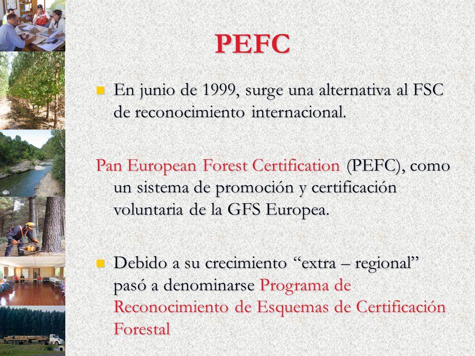 PEFC En junio de 1999, surge una alternativa al FSC de reconocimiento internacional. En junio de 1999, surge una alternativa al FSC de reconocimiento
