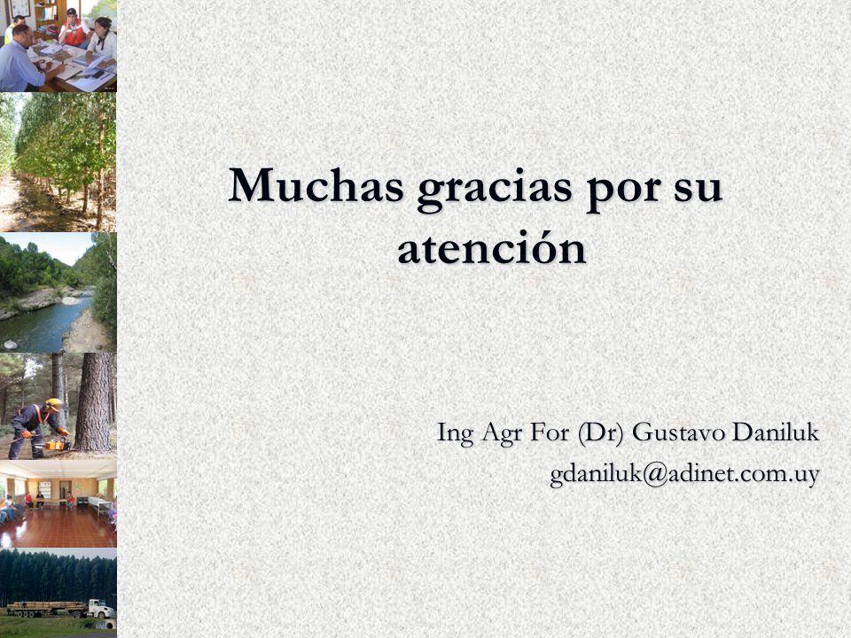 Muchas gracias por su atención Ing Agr For (Dr) Gustavo Daniluk gdaniluk@adinet.com.uy