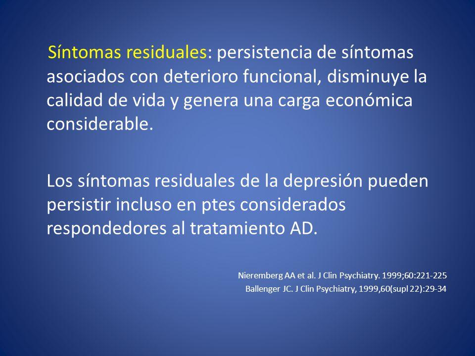 Síntomas residuales: persistencia de síntomas asociados con deterioro funcional, disminuye la calidad de vida y genera una carga económica considerable.
