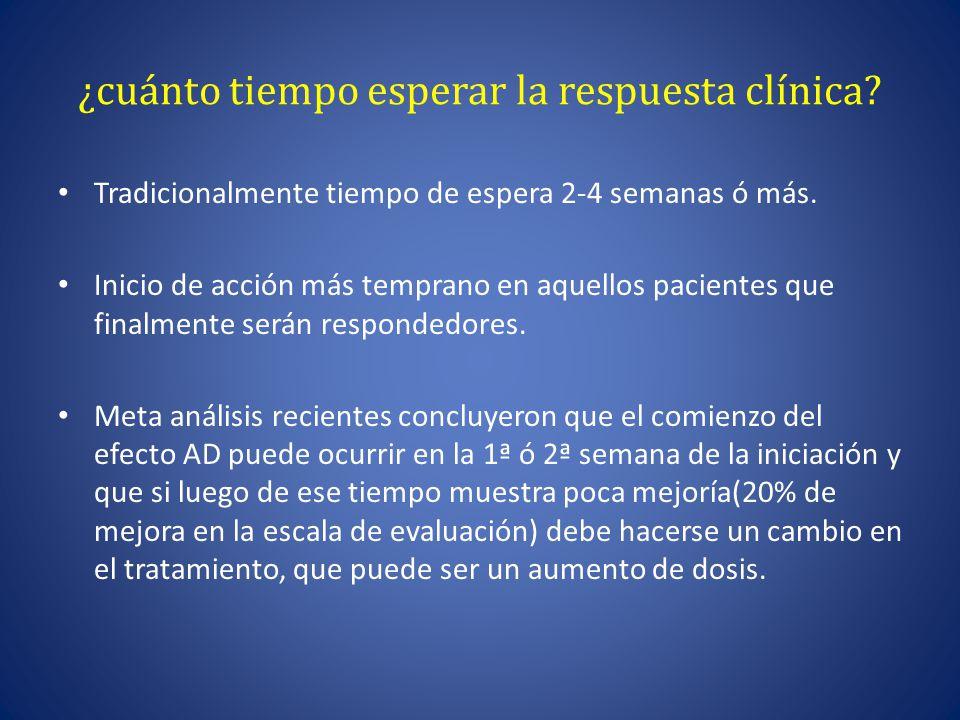 ¿cuánto tiempo esperar la respuesta clínica.Tradicionalmente tiempo de espera 2-4 semanas ó más.