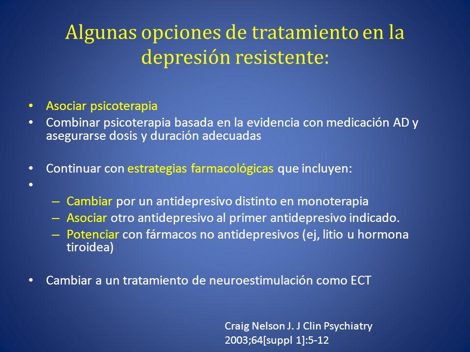 Algunas opciones de tratamiento en la depresión resistente: Asociar psicoterapia Combinar psicoterapia basada en la evidencia con medicación AD y asegurarse dosis y duración adecuadas Continuar con estrategias farmacológicas que incluyen: – Cambiar por un antidepresivo distinto en monoterapia – Asociar otro antidepresivo al primer antidepresivo indicado.