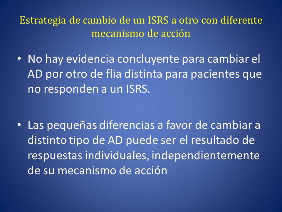 Estrategia de cambio de un ISRS a otro con diferente mecanismo de acción No hay evidencia concluyente para cambiar el AD por otro de flia distinta para pacientes que no responden a un ISRS.
