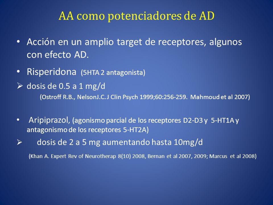 AA como potenciadores de AD Acción en un amplio target de receptores, algunos con efecto AD.