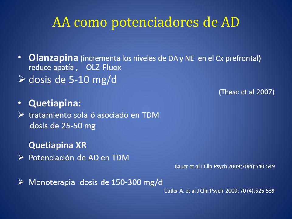 AA como potenciadores de AD Olanzapina (incrementa los niveles de DA y NE en el Cx prefrontal) reduce apatía, OLZ-Fluox dosis de 5-10 mg/d (Thase et al 2007) Quetiapina: tratamiento sola ó asociado en TDM dosis de 25-50 mg Quetiapina XR Potenciación de AD en TDM Bauer et al J Clin Psych 2009;70(4):540-549 Monoterapia dosis de 150-300 mg/d Cutler A.