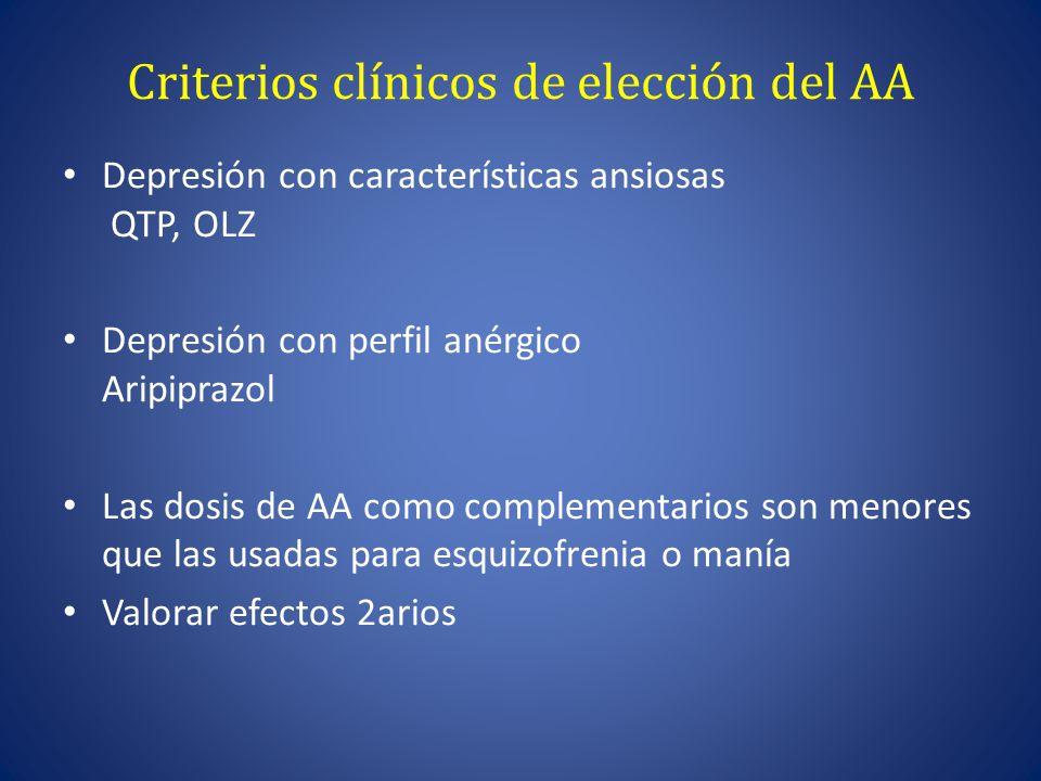 Criterios clínicos de elección del AA Depresión con características ansiosas QTP, OLZ Depresión con perfil anérgico Aripiprazol Las dosis de AA como complementarios son menores que las usadas para esquizofrenia o manía Valorar efectos 2arios
