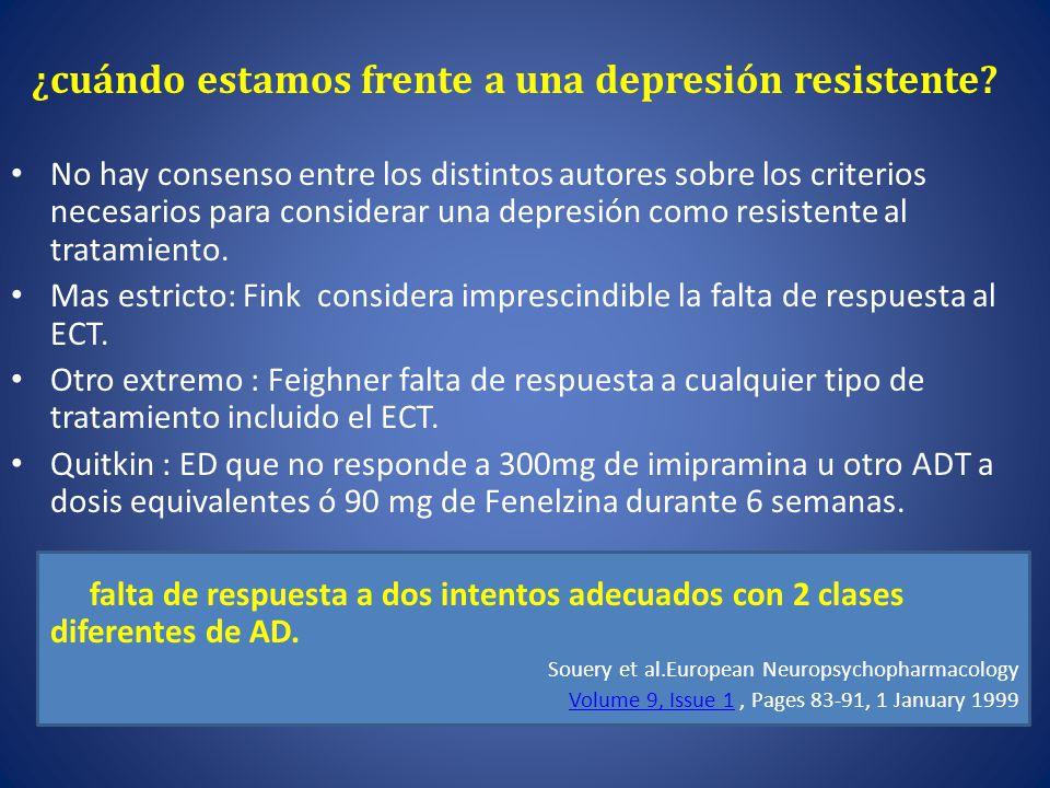 ¿ cuándo estamos frente a una depresión resistente.