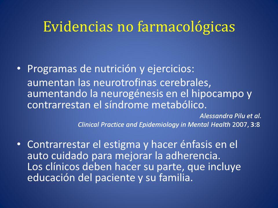 Evidencias no farmacológicas Programas de nutrición y ejercicios: aumentan las neurotrofinas cerebrales, aumentando la neurogénesis en el hipocampo y contrarrestan el síndrome metabólico.