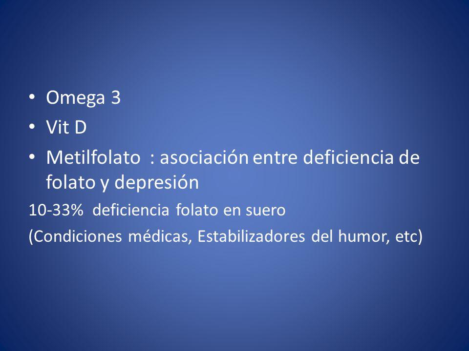 Omega 3 Vit D Metilfolato : asociación entre deficiencia de folato y depresión 10-33% deficiencia folato en suero (Condiciones médicas, Estabilizadores del humor, etc)