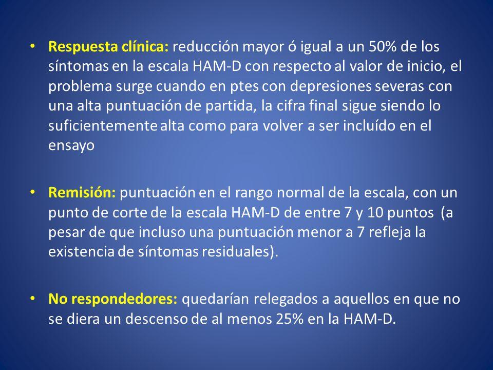 Respuesta clínica: reducción mayor ó igual a un 50% de los síntomas en la escala HAM-D con respecto al valor de inicio, el problema surge cuando en ptes con depresiones severas con una alta puntuación de partida, la cifra final sigue siendo lo suficientemente alta como para volver a ser incluído en el ensayo Remisión: puntuación en el rango normal de la escala, con un punto de corte de la escala HAM-D de entre 7 y 10 puntos (a pesar de que incluso una puntuación menor a 7 refleja la existencia de síntomas residuales).