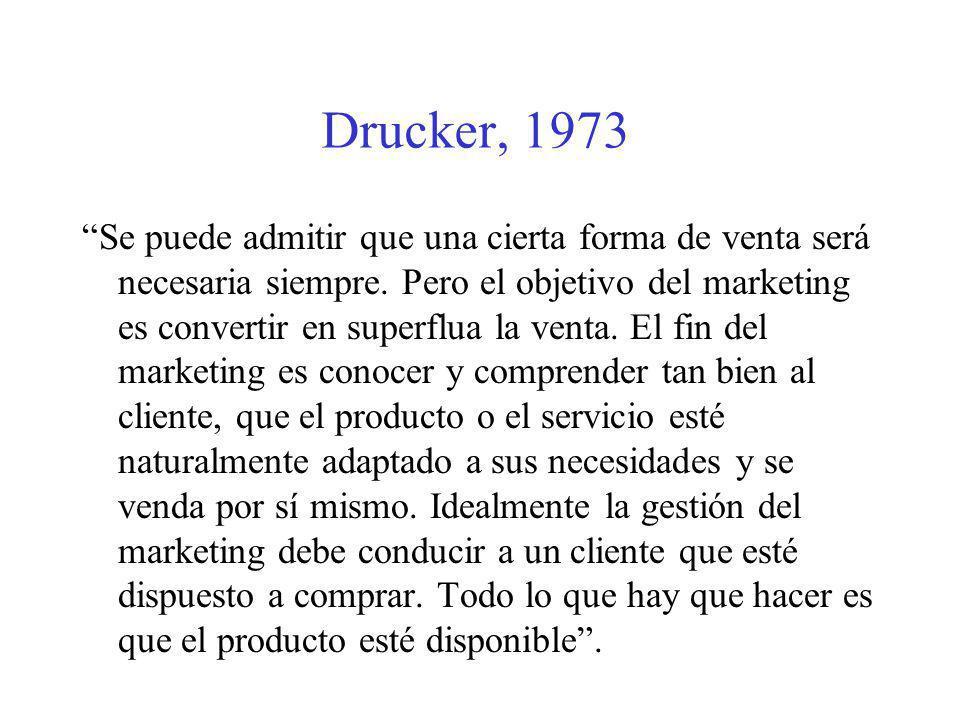 Drucker, 1973 Se puede admitir que una cierta forma de venta será necesaria siempre. Pero el objetivo del marketing es convertir en superflua la venta