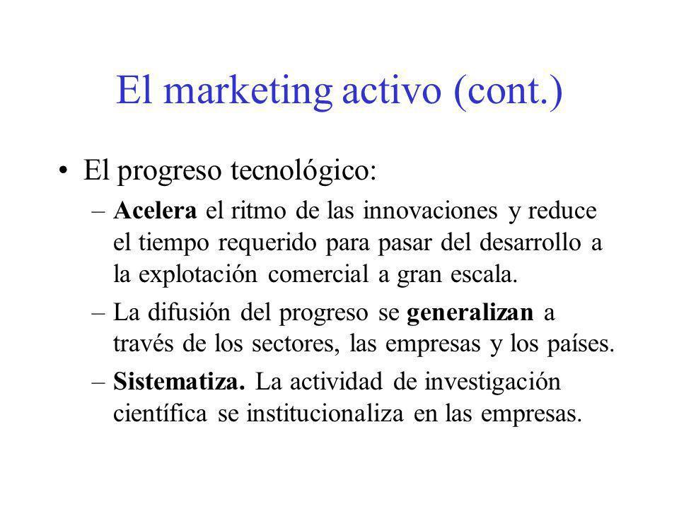 El marketing activo (cont.) El progreso tecnológico: –Acelera el ritmo de las innovaciones y reduce el tiempo requerido para pasar del desarrollo a la