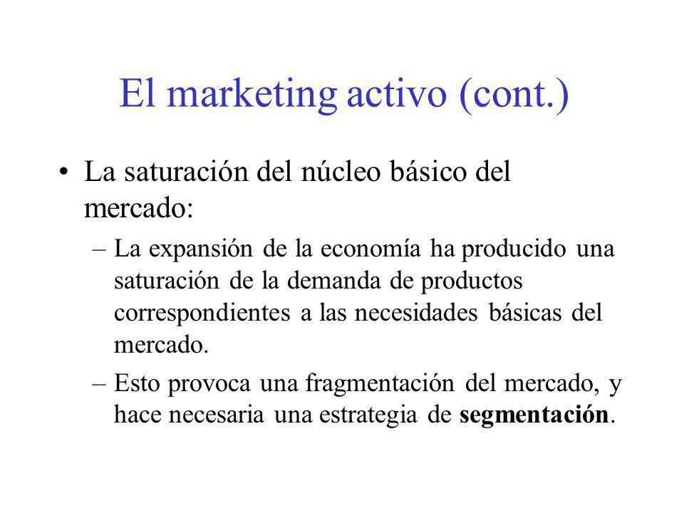 El marketing activo (cont.) La saturación del núcleo básico del mercado: –La expansión de la economía ha producido una saturación de la demanda de pro