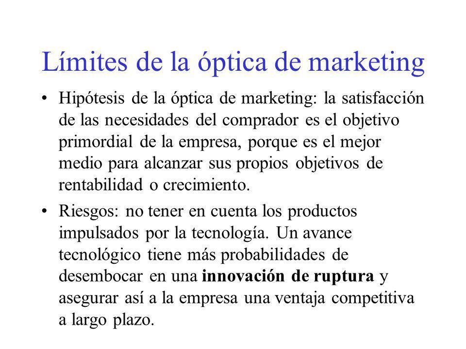 Límites de la óptica de marketing Hipótesis de la óptica de marketing: la satisfacción de las necesidades del comprador es el objetivo primordial de l