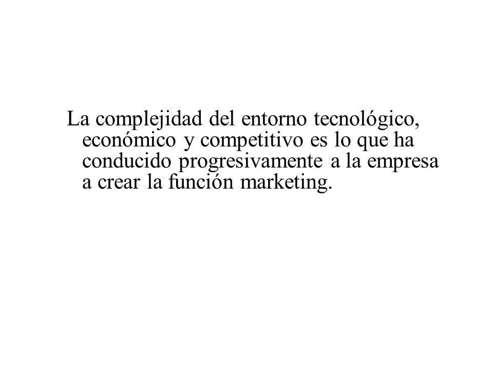 La complejidad del entorno tecnológico, económico y competitivo es lo que ha conducido progresivamente a la empresa a crear la función marketing.