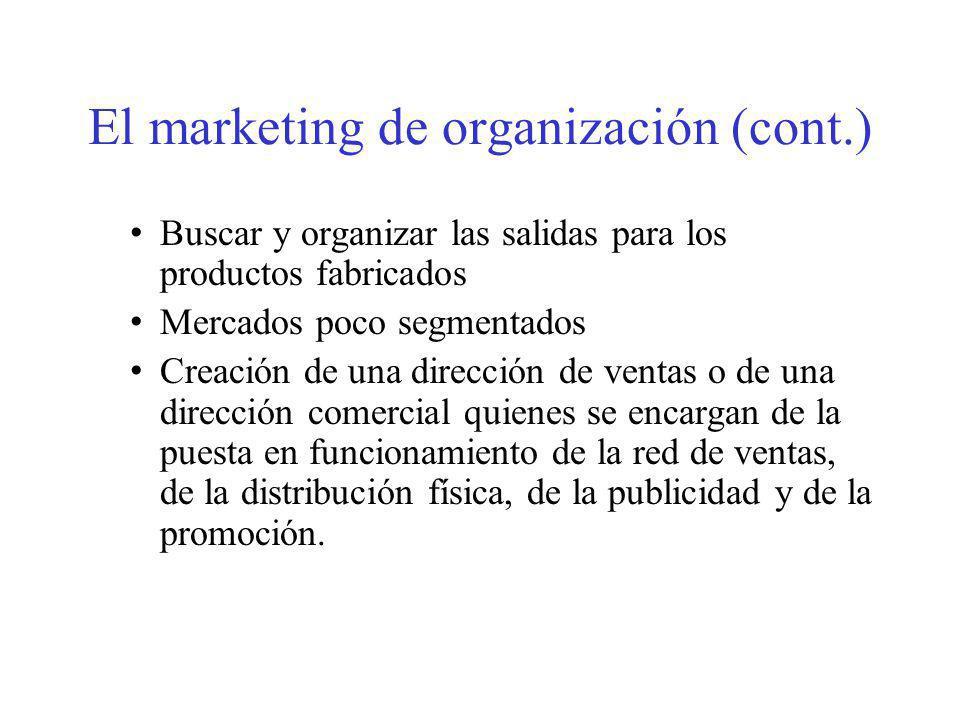 El marketing de organización (cont.) Buscar y organizar las salidas para los productos fabricados Mercados poco segmentados Creación de una dirección