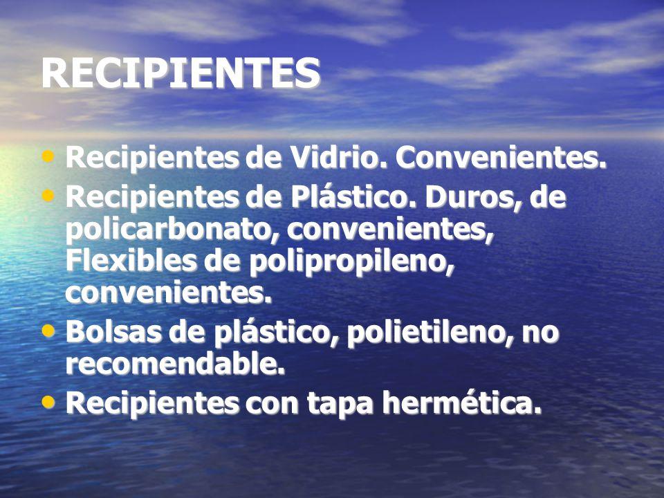 RECIPIENTES Recipientes de Vidrio.Convenientes. Recipientes de Vidrio.