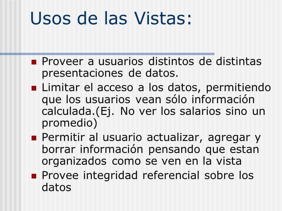 Usos de las Vistas: Proveer a usuarios distintos de distintas presentaciones de datos. Limitar el acceso a los datos, permitiendo que los usuarios vea