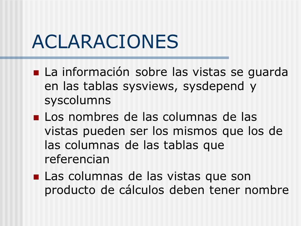 ACLARACIONES La información sobre las vistas se guarda en las tablas sysviews, sysdepend y syscolumns Los nombres de las columnas de las vistas pueden