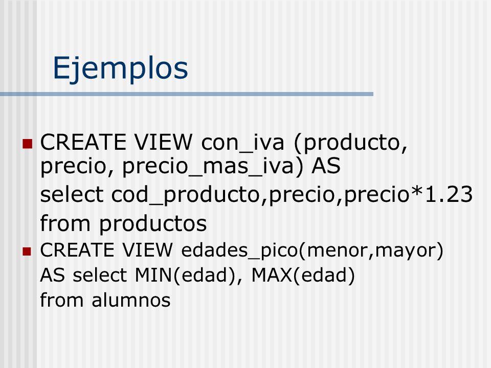 Ejemplos CREATE VIEW con_iva (producto, precio, precio_mas_iva) AS select cod_producto,precio,precio*1.23 from productos CREATE VIEW edades_pico(menor,mayor) AS select MIN(edad), MAX(edad) from alumnos