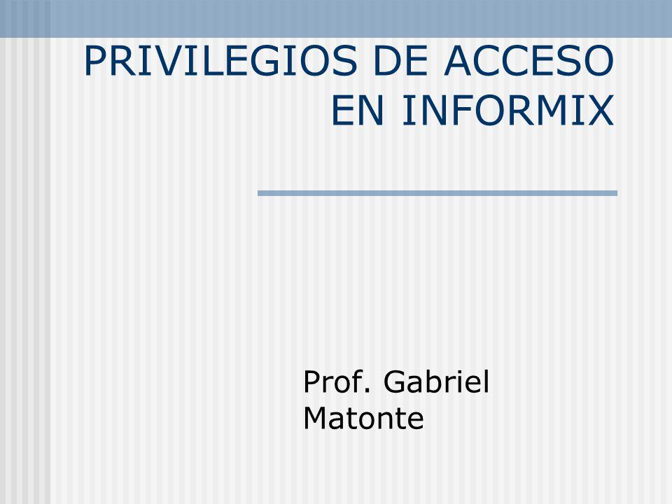 PRIVILEGIOS DE ACCESO EN INFORMIX Prof. Gabriel Matonte