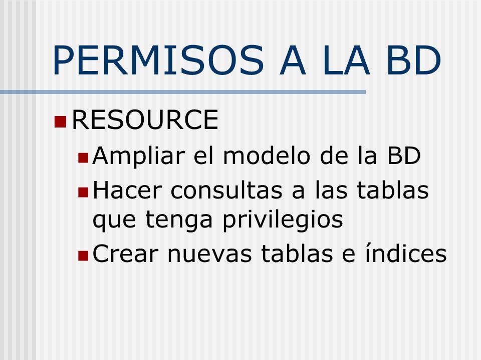 PERMISOS A LA BD RESOURCE Ampliar el modelo de la BD Hacer consultas a las tablas que tenga privilegios Crear nuevas tablas e índices