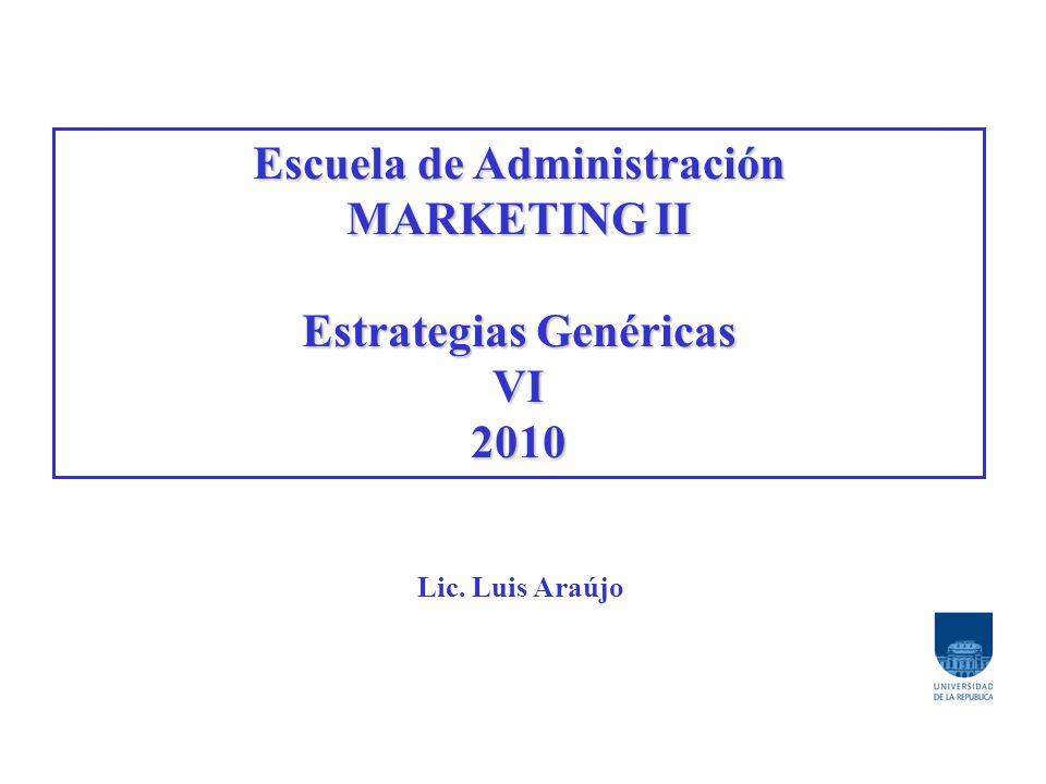 Escuela de Administración MARKETING II Estrategias Genéricas VI2010 Lic. Luis Araújo
