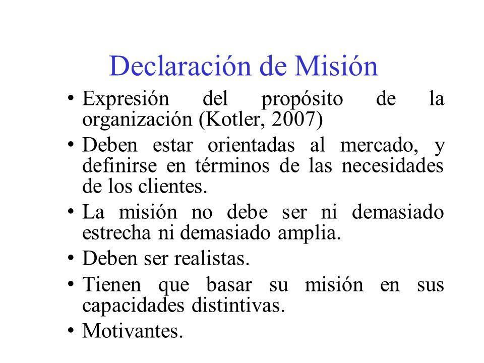 Declaración de Misión Expresión del propósito de la organización (Kotler, 2007) Deben estar orientadas al mercado, y definirse en términos de las necesidades de los clientes.