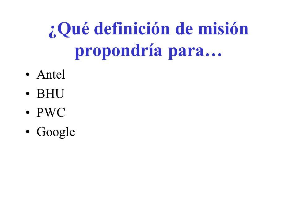 Misión actual de Antel Brindar servicios de telecomunicaciones adecuados a las necesidades de los clientes, en forma eficiente, de calidad, a precios competitivos y que contribuyan al bienestar de los ciudadanos, al desarrollo de la cultura y la producción del país