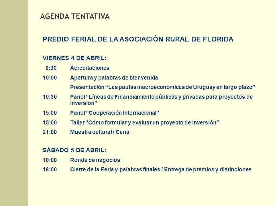 PREDIO FERIAL DE LA ASOCIACIÓN RURAL DE FLORIDA VIERNES 4 DE ABRIL: 9:30Acreditaciones 10:00Apertura y palabras de bienvenida Presentación Las pautas