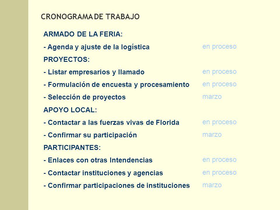 ARMADO DE LA FERIA: - Agenda y ajuste de la logística PROYECTOS: - Listar empresarios y llamado - Formulación de encuesta y procesamiento - Selección