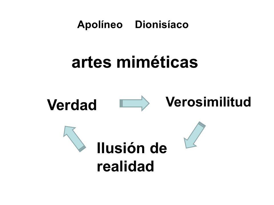 artes miméticas Ilusión de realidad Verosimilitud Verdad Apolíneo Dionisíaco