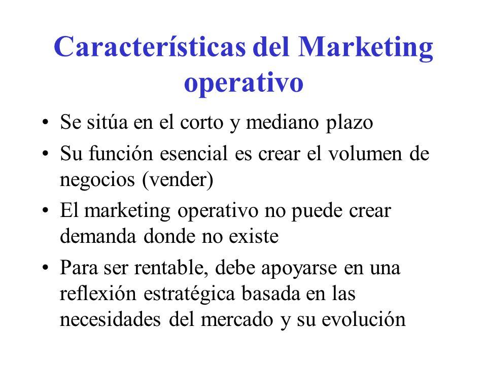 Características del Marketing Estratégico Lo que el comprador busca es la solución a un problema La función del marketing estratégico es seguir la evolución del mercado de referencia e identificar los diferentes segmentos actuales y potenciales Se debe evaluar el atractivo de los diferentes segmentos