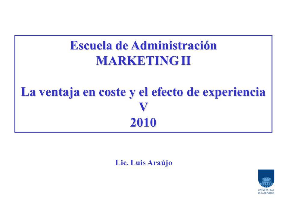 Escuela de Administración MARKETING II La ventaja en coste y el efecto de experiencia V2010 Lic. Luis Araújo
