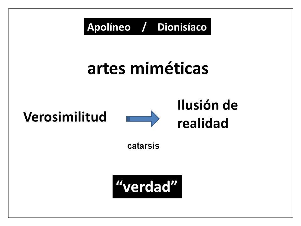 artes miméticas Ilusión de realidad Verosimilitud verdad Apolíneo / Dionisíaco catarsis