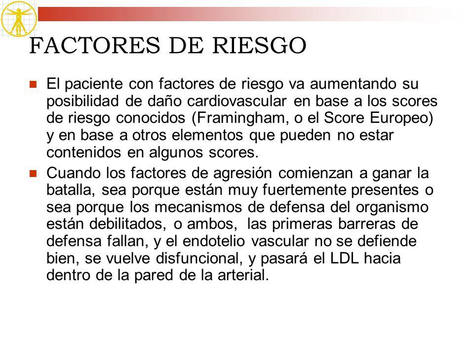 FACTORES DE RIESGO El paciente con factores de riesgo va aumentando su posibilidad de daño cardiovascular en base a los scores de riesgo conocidos (Fr