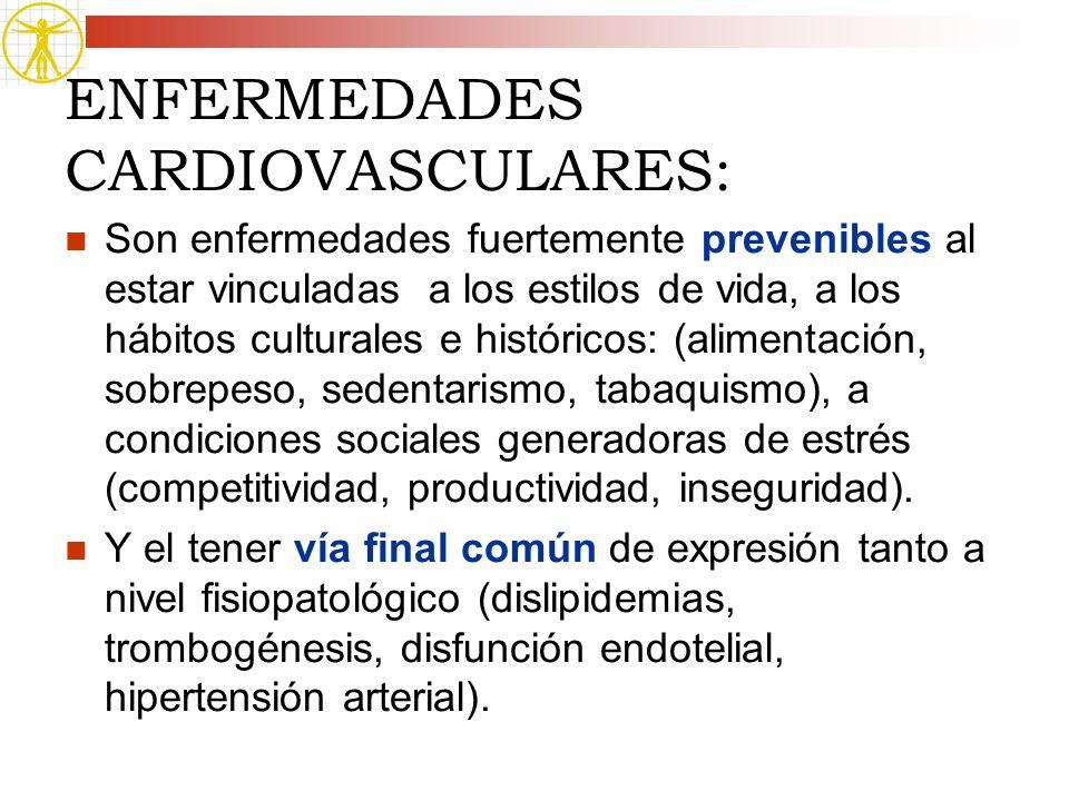 ENFERMEDADES CARDIOVASCULARES: Son enfermedades fuertemente prevenibles al estar vinculadas a los estilos de vida, a los hábitos culturales e históric