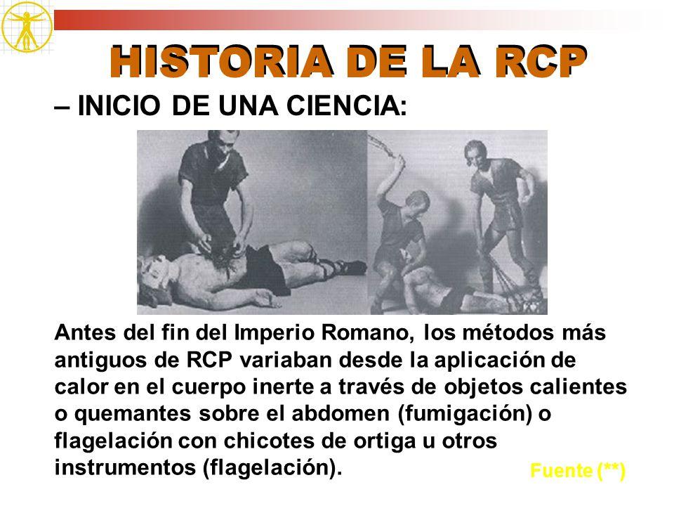 HISTORIA DE LA RCP – INICIO DE UNA CIENCIA: Fuente (**) Antes del fin del Imperio Romano, los métodos más antiguos de RCP variaban desde la aplicación