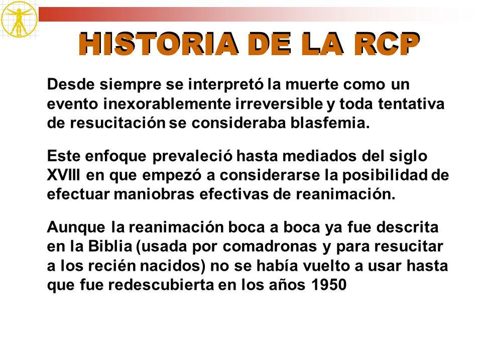 HISTORIA DE LA RCP Desde siempre se interpretó la muerte como un evento inexorablemente irreversible y toda tentativa de resucitación se consideraba b