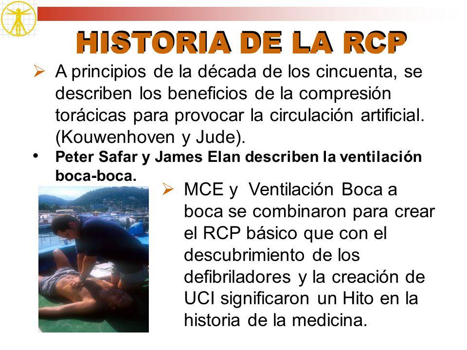 HISTORIA DE LA RCP MCE y Ventilación Boca a boca se combinaron para crear el RCP básico que con el descubrimiento de los defibriladores y la creación