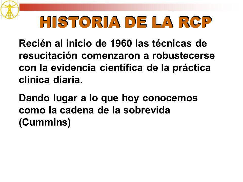 HISTORIA DE LA RCP Recién al inicio de 1960 las técnicas de resucitación comenzaron a robustecerse con la evidencia científica de la práctica clínica