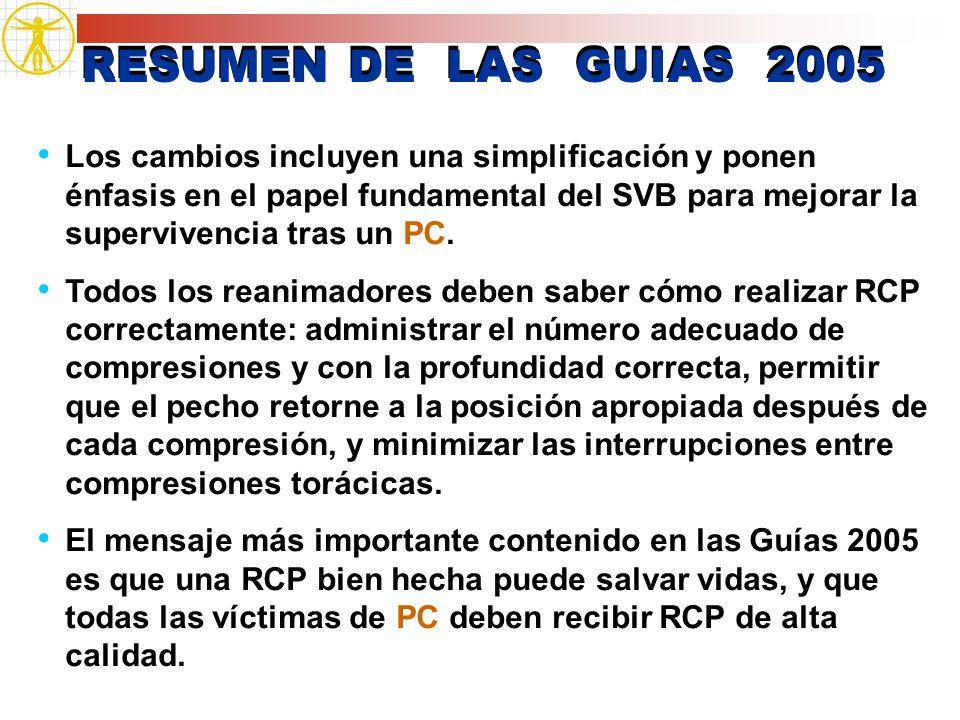 RESUMEN DE LAS GUIAS 2005 Los cambios incluyen una simplificación y ponen énfasis en el papel fundamental del SVB para mejorar la supervivencia tras u