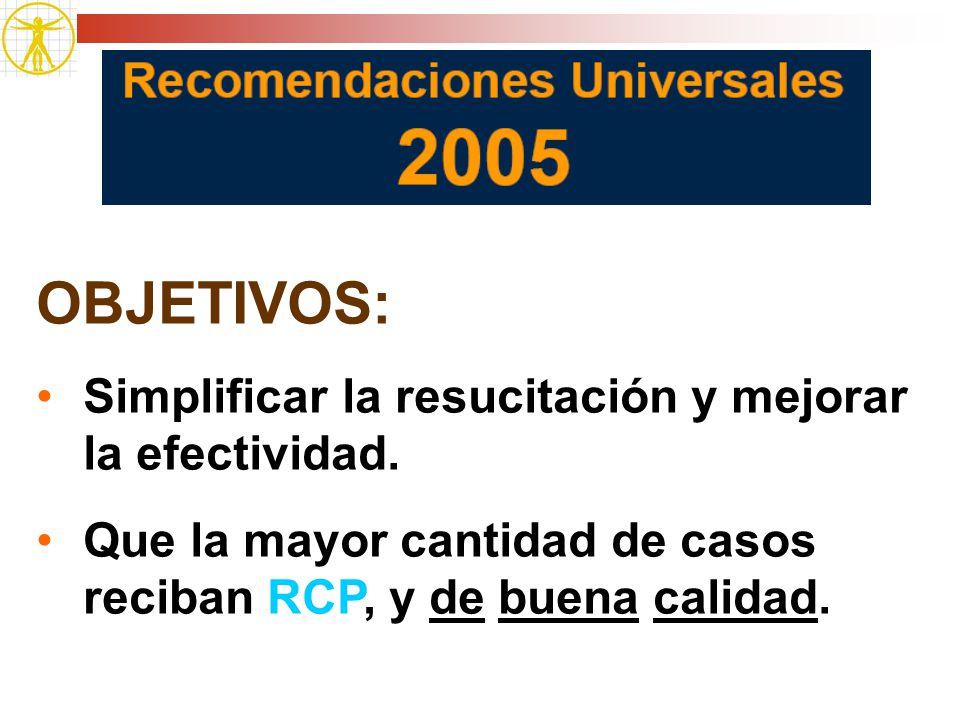OBJETIVOS: Simplificar la resucitación y mejorar la efectividad. Que la mayor cantidad de casos reciban RCP, y de buena calidad.